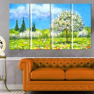 Designart Tree in Different Seasons Watercolor Landscape Canvas Art Print - 4 Panels