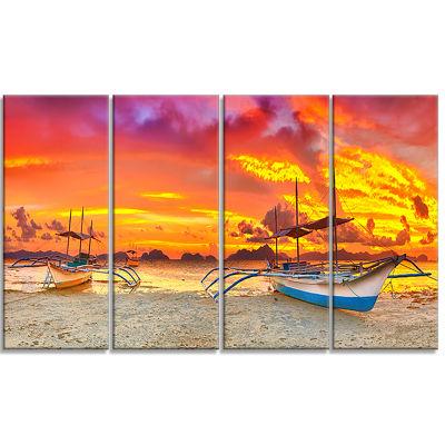 Designart Boat at Sunset Panorama Large LandscapeArt PrintCanvas - 4 Panels