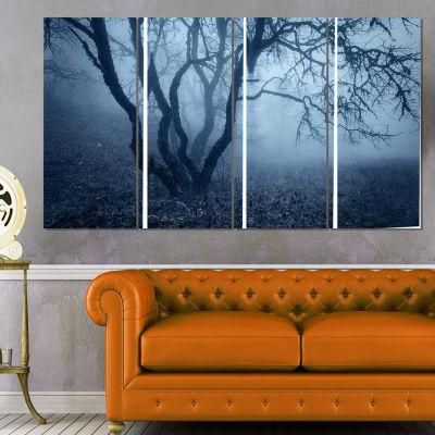 Designart Tree in Foggy Dark Forest Landscape Photography Canvas Print - 4 Panels