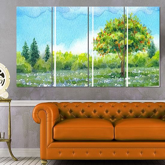 Designart Tree in Spring Watercolor Painting Landscape Canvas Print - 4 Panels
