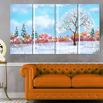 Designart Tree in Winter Watercolor Painting Landscape Canvas Print - 4 Panels
