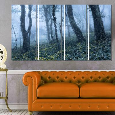 Designart Trees in Foggy Spring Forest Landscape PhotographyCanvas Print - 4 Panels