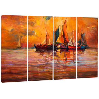 Designart Boats and Ocean in Red Seascape CanvasArt Print -4 Panels
