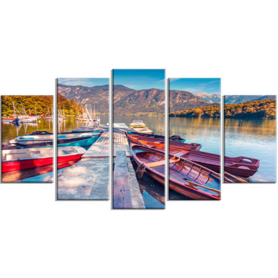 Designart Bohinj Lake in Morning Landscape PhotoCanvas Art Print - 4 Panels