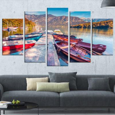 Designart Bohinj Lake in Morning Landscape PhotoWrapped Canvas Art Print - 5 Panels