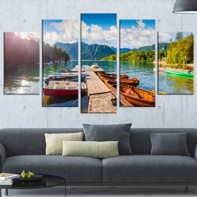 Designart Bohinj Lake Sunny Morning Landscape Photography Wrapped Canvas Print - 5 Panels