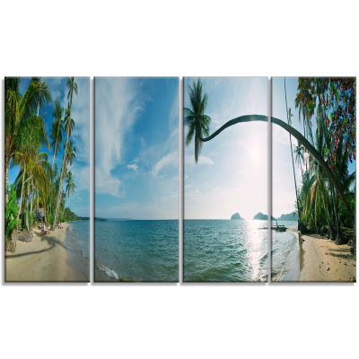 Tropical Beach Panorama Photography Canvas Art Print - 4 Panels