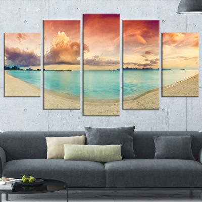 Designart Tropical Colorful Sunset with Pond Landscape Art Print Canvas - 4 Panels