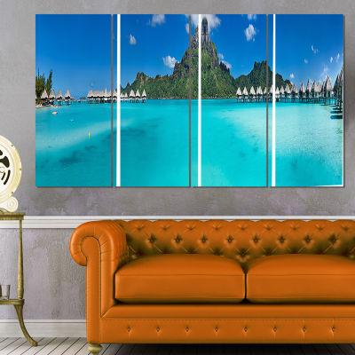 Designart Bora Bora Panorama Beach Seascape CanvasArt Print- 4 Panels