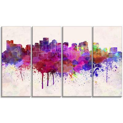 Designart Boston Skyline Cityscape Canvas ArtworkPrint - 4 Panels