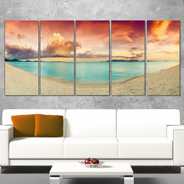 Designart Tropical Colorful Sunset with Pond Landscape Art Print Canvas - 5 Panels