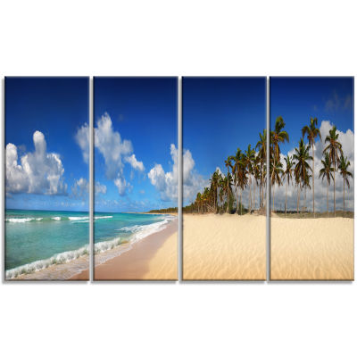 Designart Tropical Exotic Beach Landscape Photography CanvasArt Print - 4 Panels