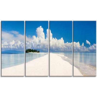 Designart Tropical Island Panorama Landscape Photography Canvas Print - 4 Panels