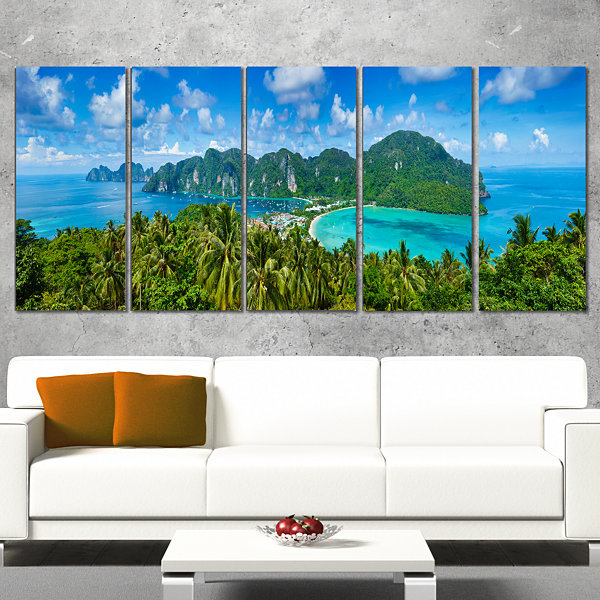 Designart Tropical Island Panorama Photography Canvas Art Print - 4 Panels