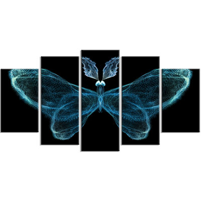 Designart Turquoise Fractal Butterfly in Dark Abstract Canvas Art Print - 5 Panels