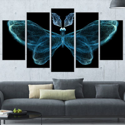 Designart Turquoise Fractal Butterfly in Dark Contemporary Canvas Art Print - 5 Panels