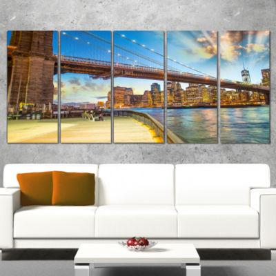 Designart Bridge Park Brooklyn Cityscape Photography CanvasPrint - 4 Panels