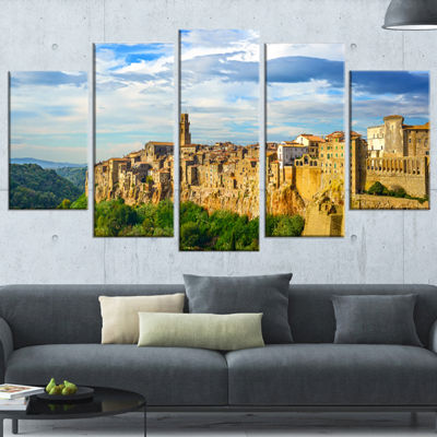 Designart Tuscany Pitigliano Medieval Village Photography Wrapped Art Print - 5 Panels
