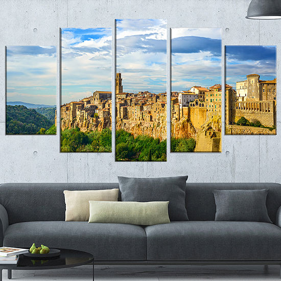 Designart Tuscany Pitigliano Medieval Village Photography Wrapped Art Print 5 Panels