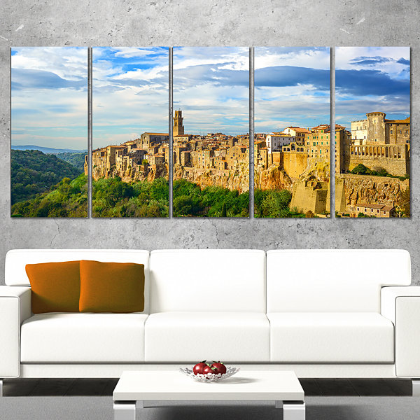 Designart Tuscany Pitigliano Medieval Village Photography Canvas Art Print - 5 Panels