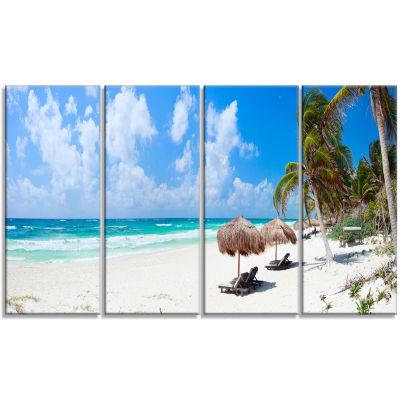 Designart Bright Caribbean Beach Abstract CanvasArt Print -4 Panels