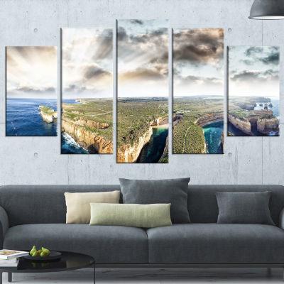 Designart Twelve Apostles Sunset Landscape Photography Wrapped Art Print - 5 Panels