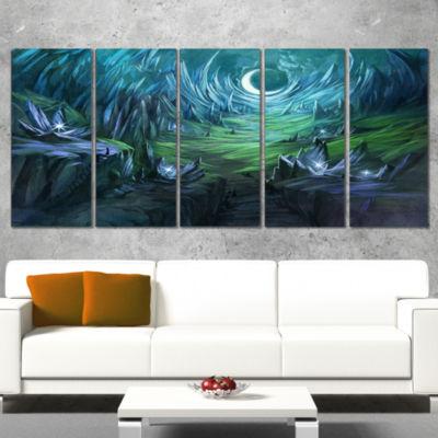 Designart Twilight Valley Landscape Abstract Canvas Art Print - 4 Panels