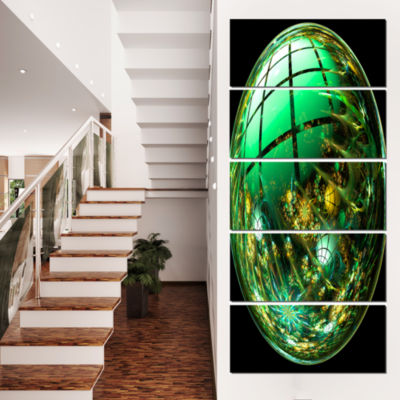 Designart Bright Green Fractal Sphere Abstract Canvas Art Print - 5 Panels