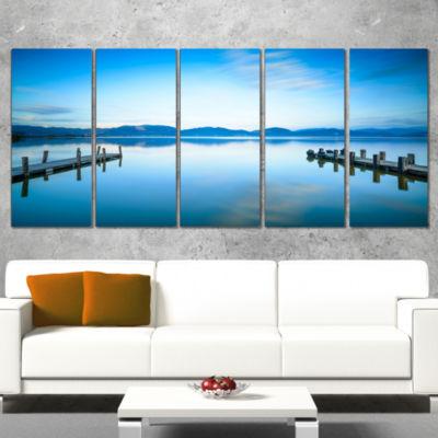 Two Wooden Piers in Blue Sea Seascape Canvas Art Print - 4 Panels