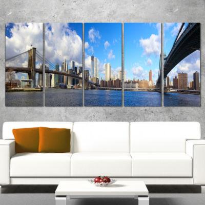 Designart Bright Manhattan Day Panorama CityscapePhoto Canvas Print - 4 Panels