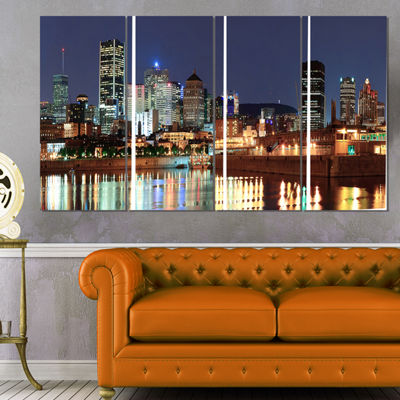 Designart Bright Montreal at Dusk Cityscape Photography Canvas Print - 4 Panels