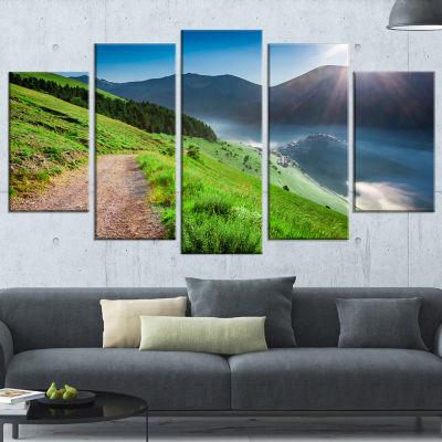 Designart Umbria Mountains Sunny Sunrise LandscapePhotography Wrapped Print - 5 Panels