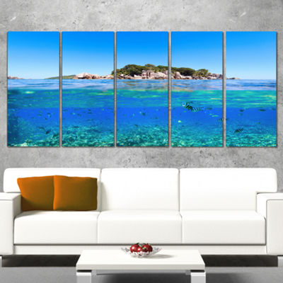 Designart Under and Above the Waters Seascape Canvas Art Print - 4 Panels