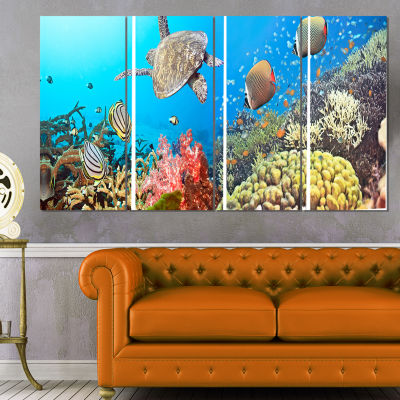 Designart Undersea Panorama Photography Canvas ArtPrint - 4Panels