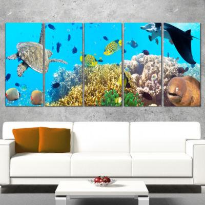 Designart Underwater Panorama with Sea Creatures PhotographyCanvas Art Print - 4 Panels