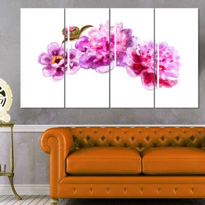 Designart Bright Pink Peony Flowers Floral Art Canvas Print- 4 Panels