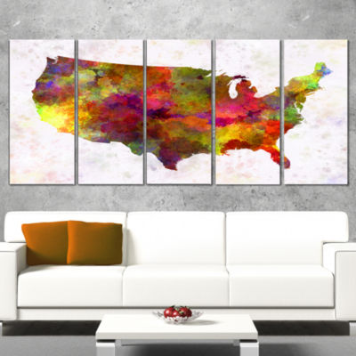 Designart United States Map in Colors Watercolor Painting Canvas Print - 5 Panels