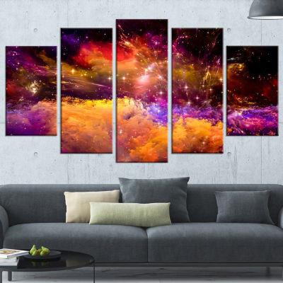 Designart Universe Fractal Burst Abstract Canvas Art Print -4 Panels