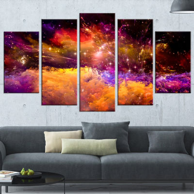 Designart Universe Fractal Burst Abstract Canvas Art Print -5 Panels