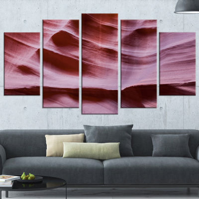 Designart Upper Antelope Canyon Details Large Landscape Photography Canvas Print - 5 Panels