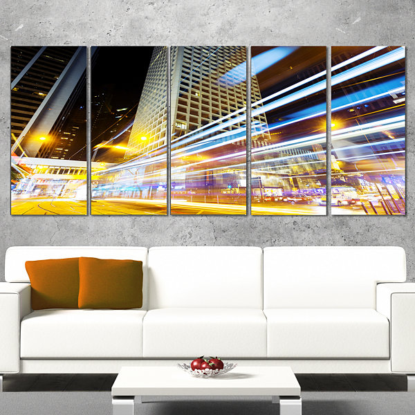Designart Urban City Traffic Trails Cityscape Digital Art Canvas Print - 5 Panels