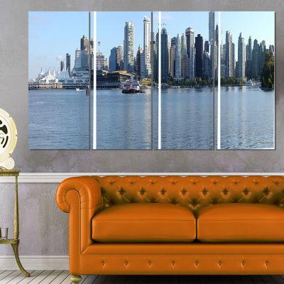 Designart Vancouver Bc Skyline Panorama CityscapePhoto Canvas Print - 4 Panels