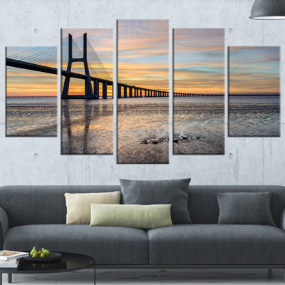 Designart Vasco De Gama Bridge Lisbon Seascape Canvas Art Print - 4 Panels