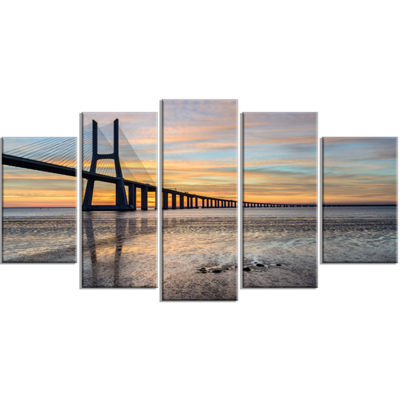 Designart Vasco De Gama Bridge Lisbon Seascape Canvas Art Print - 5 Panels