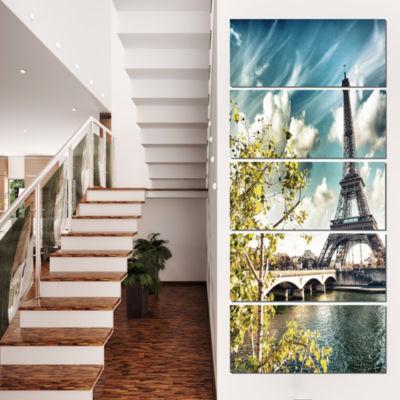 Designart Vegetation Near Paris Eiffel Tower Landscape PhotoCanvas Art Print - 5 Panels