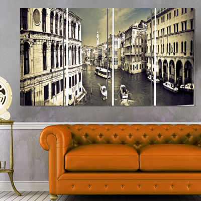 Designart Venice Cityscape Photography Canvas ArtPrint - 4Panels
