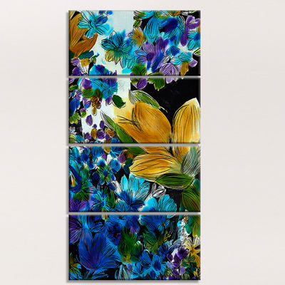 Designart Brown and Blue Flowers Floral Art CanvasPrint - 4 Panels
