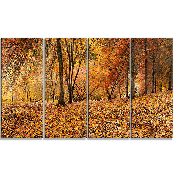 Designart Brown Autumn Panorama Landscape Photography CanvasPrint - 4 Panels
