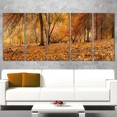 Designart Brown Autumn Panorama Landscape Photography CanvasPrint - 5 Panels