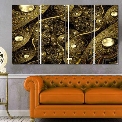 Designart Brown Metallic Fabric Pattern AbstractPrint On Canvas - 4 Panels